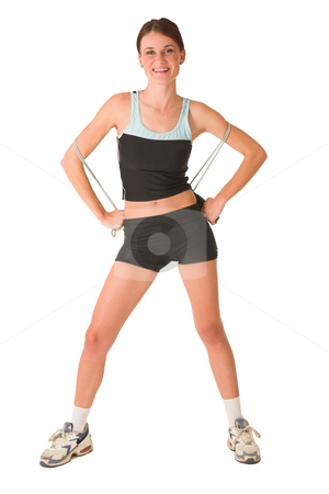 Gym #154 stock photo, Woman in gym wear standing still with skipping rope. by Sean Nel