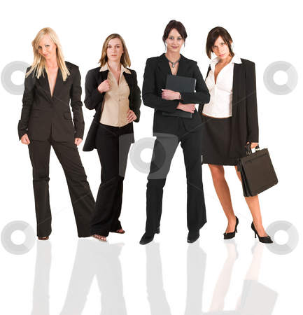 Business group of woman only stock photo, A group of young modern businesswoman of different backgrounds, on a white background. For use as a business background. by Sean Nel