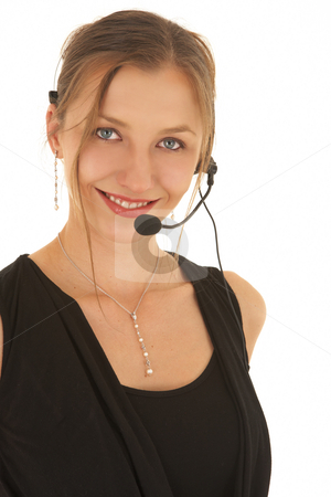 Young caucasian businesswoman stock photo, Young adult brunette businesswoman in a black office outfit on a white background with a telephone headset by Sean Nel