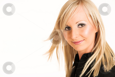 Business Woman #297 stock photo, Blond business woman dressed in black trousers and a black shirt. Copy space by Sean Nel