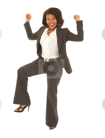 Sexy african businesswoman stock photo, Sexy young adult african businesswoman in a business suit dancing arround on a white background. NOT ISOLATED by Sean Nel