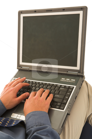 Businessman #56 stock photo, Man working on laptop. by Sean Nel