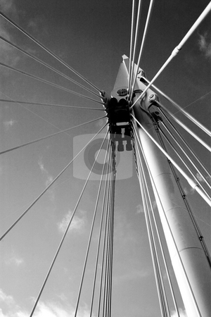 London#15 stock photo, Cables of a bridge in London.  Black and white. by Sean Nel