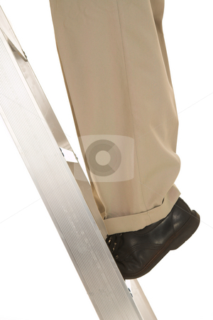 Businessman #30 stock photo, Man standing the corporate ladder. by Sean Nel