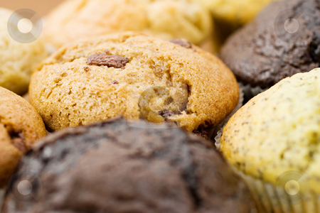 Food #8 stock photo, A Plate of muffins - Caramel muffin in focus - Shallow Depth of Field - Dark Foreground by Sean Nel