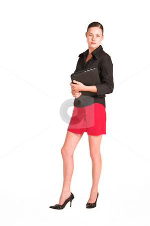 Charmaine Shoultz #4 stock photo, Business woman dressed in a black shirt and red skirt.  Holding a file by Sean Nel