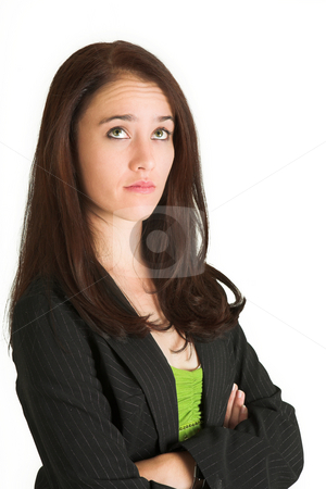 Business woman #525 stock photo, Portrait of a brunette business woman, looking serious by Sean Nel