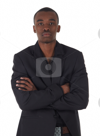 Black African businessman stock photo, Young Adult black african businessman wearing a dark smart-casual suit and Jacket on a white background in various poses with various facial expressions. Part of a series, Not Isolated. by Sean Nel