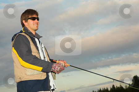 Flyfishing #9 stock photo, A fly fisherman casting a line in Dullstroom, South Africa by Sean Nel