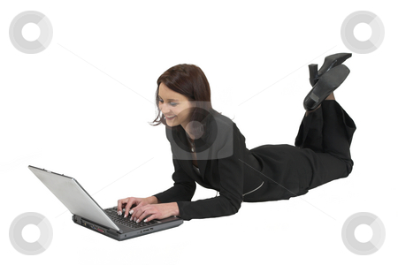 Luzaan Roodt #22 stock photo, Business woman in formal black suit working on laptop, laying on the ground by Sean Nel