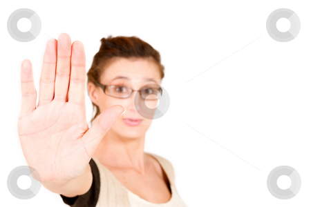 Business Lady #107 stock photo, Business woman with glasses, holing hand up by Sean Nel