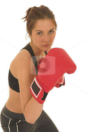 Boxer #09 stock photo, Brunette with red boxing gloves by Sean Nel