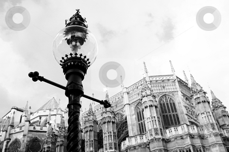 London #55 stock photo, Westminster Central hall, London.  shallow DOF - streetlight in focus, building out of focus.  Black and white photograph by Sean Nel