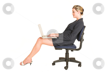 Laura Hopton #3 stock photo, Business woman on office chair with Laptop on her lap by Sean Nel