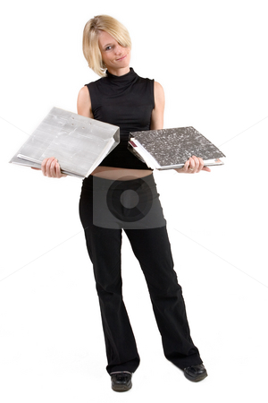 Businesswoman #44 stock photo, Business woman in black outfit with files by Sean Nel