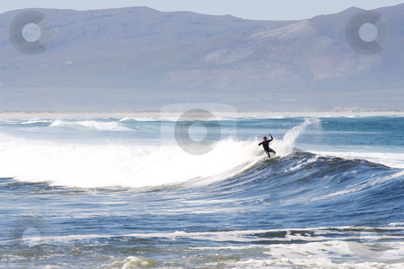 Surfer #6 stock photo, Unknown Surfer on Kleinmond beach - South Africa by Sean Nel