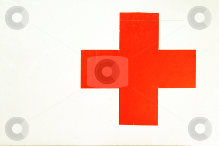 Red cross stock photo, Old red cross sign by Sean Nel