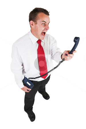 Tollie Booysen #32 stock photo, Businessman in black leather trousers, white shirt and red tie. Yelling at telephone by Sean Nel