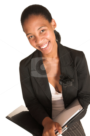 Mida Matsimela #12 stock photo, African business woman dressed in black jacket. Holding a file.  Laughing by Sean Nel
