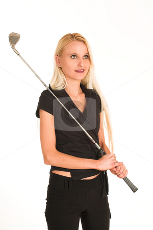 Businesswoman #384 stock photo, Blond business lady in black clothes.  Holding a golf club. by Sean Nel