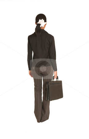 Mida Matsimela #4 stock photo, African business woman dressed in black jacket.  Carrying suitcase by Sean Nel
