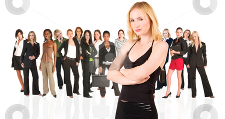 Business group of isolated woman only stock photo, A group of young modern businesswoman of different ethnicity and backgrounds, isolated on white. The background is blurred by Sean Nel