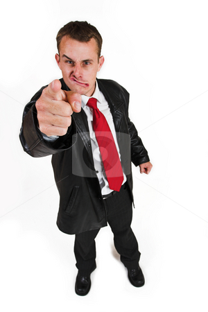 Business man #29 stock photo, Business man in a suit with a red tie - Pointing his finger (hand in focus, face out of focus) by Sean Nel