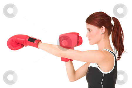 Gym #64 stock photo, Woman boxing. by Sean Nel