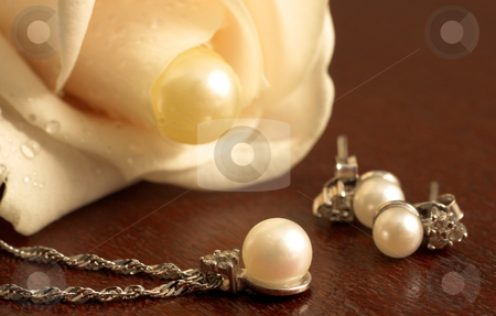 Wedding #24 stock photo, Wedding Jewelry on a dark wooden table, with white rose in the background by Sean Nel