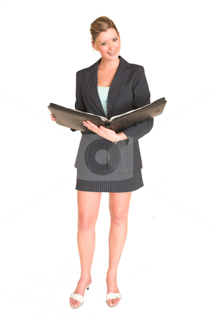 Laura Hopton #21 stock photo, Business woman looking through album - full length by Sean Nel