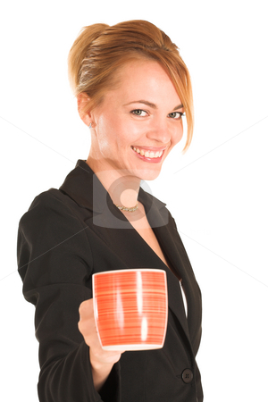 Businesswoman #249 stock photo, Blonde business lady in formal black suit. Holding a cup.  Shallow DOF, mug out of focus, face in focus. by Sean Nel