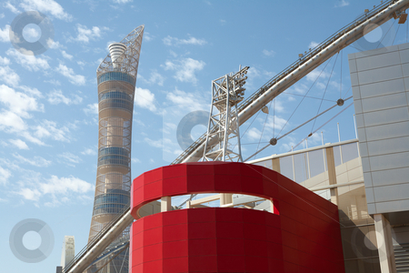 Outside Khalifa stadium stock photo, Outside Khalifa sports stadium in Doha, Qatar, Middle East, where the 2006 Asian games were hosted and location for the proposed 2016 Olympic Games by Sean Nel