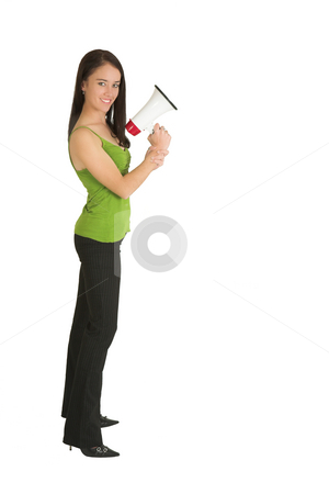 Business Woman #548 stock photo, Portrait of a brunette  woman,, wearing a green top, holding a megaphone by Sean Nel