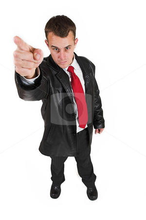 Business man #30 stock photo, Business man in a suit with a red tie - Pointing his finger (hand out of focus, face in focus) by Sean Nel