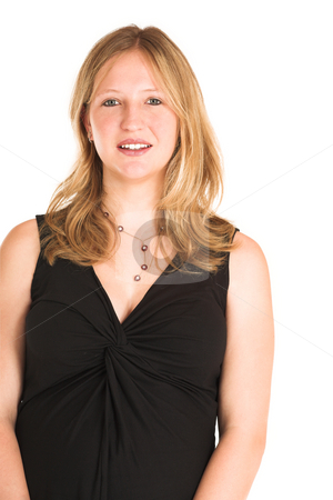 Business Woman #502 stock photo, Pregnant Business Woman, wearing black top, smiling. by Sean Nel
