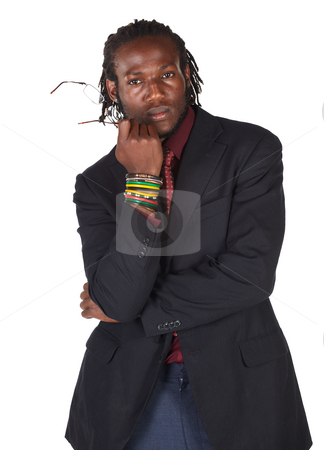 Handsome African businessman stock photo, Handsome African businessman in suit holding glasses on white background. NOT ISOLATED by Sean Nel