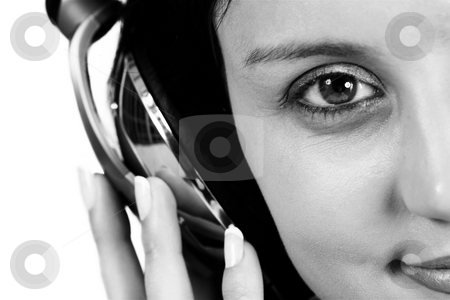 Luzaan Roodt #10 stock photo, Close-up of girl with headphone on her head - black and white, shallow DOF by Sean Nel