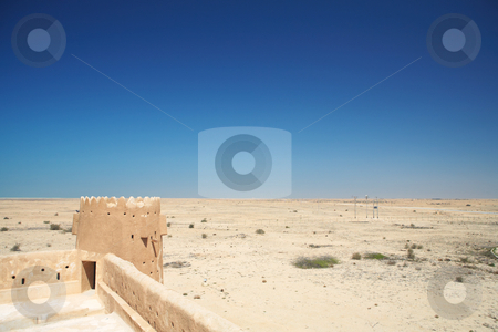 Fort Zubara stock photo, Rebuilt historic Fort Zubarah (Al Zubara) in North East of the deserts of Qatar on the edge of the Persian gulf on a sunny summer day by Sean Nel