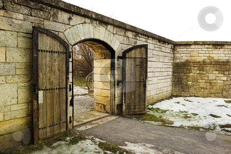 Straubing #23 stock photo, Old Cirty gate leading to Danube River by Sean Nel