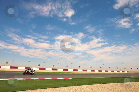Lusail Racetrack stock photo, Section of astro turf and asphalt next to the Lusail GP and race track. Main straight grandstand and pavilion by Sean Nel