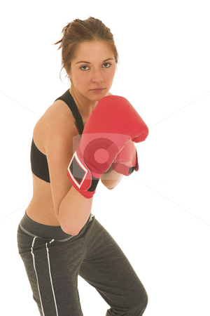 Boxer #08 stock photo, Brunette with red boxing gloves by Sean Nel