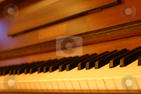 Old piano stock photo, Old piano keys by Sean Nel