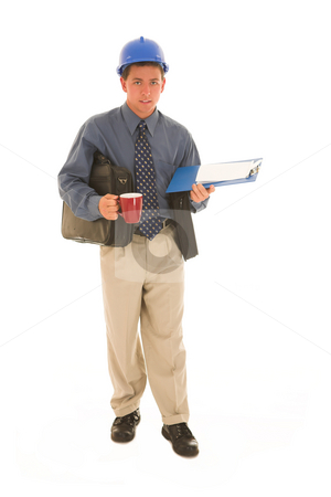 Businessman #110 stock photo, Man working with coffee in his hand. by Sean Nel