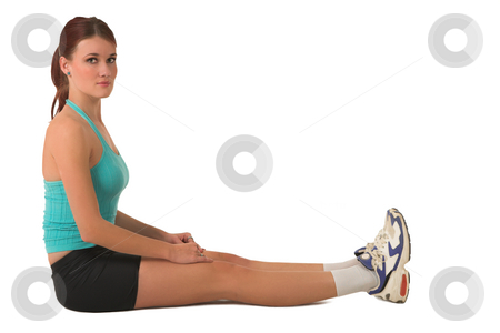 Gym #124 stock photo, Woman sitting in gym wear. by Sean Nel