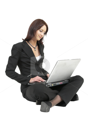 Luzaan Roodt #20 stock photo, Business woman in formal black suit working on laptop - looking down by Sean Nel