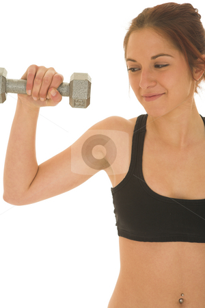 Gymbunny #30 stock photo, Brunette with black top with weights by Sean Nel