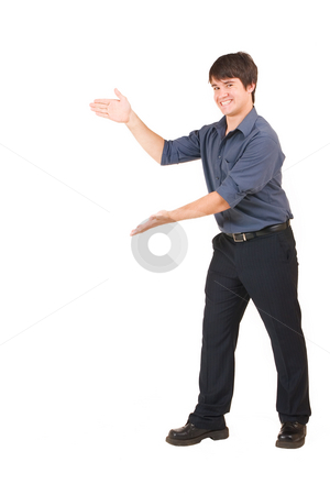 Businessman #59 stock photo, Businessman in blue shirt with hands up by Sean Nel