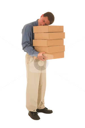 Businessman #83 stock photo, Man standing and sleeping holding boxes. by Sean Nel
