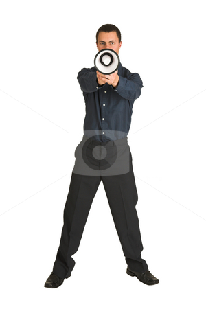 Businessman #216 stock photo, Businessman in a blue shirt, playing with a megaphone as if it is a gun. by Sean Nel