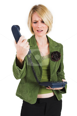 Businesswoman #43 stock photo, Upset business woman in green suite with phone by Sean Nel